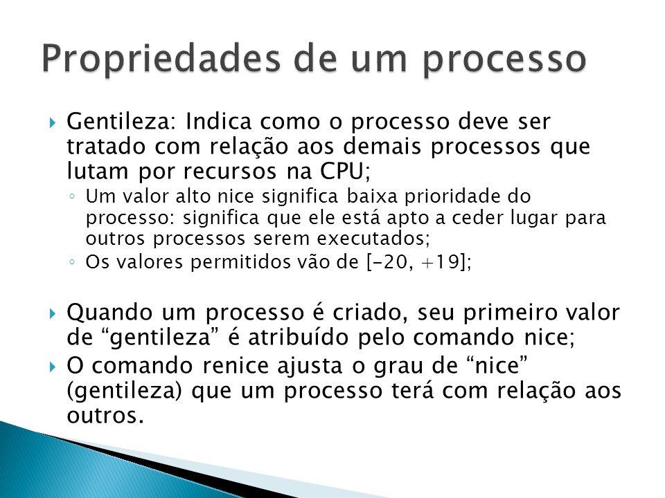  xntpd: processo ao qual a gentileza é mais comumente aplicado nos sistemas modernos; ◦ daemon de sincronização do relógio da CPU;