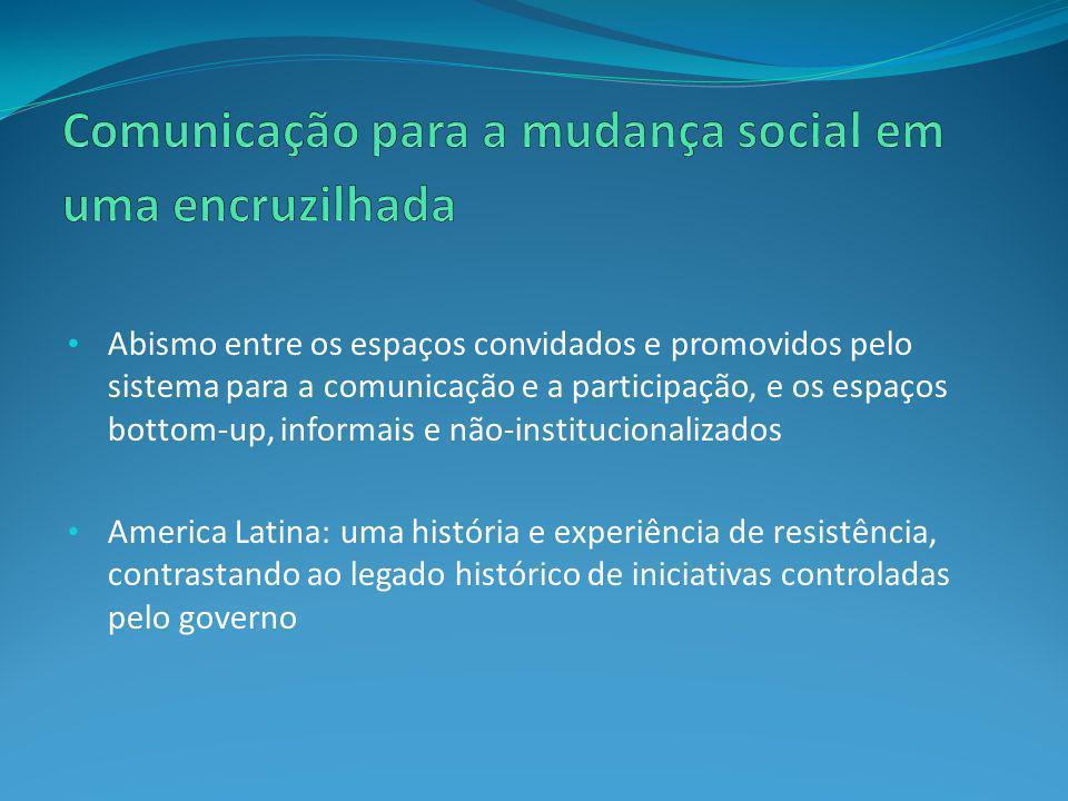 Abismo entre os espaços convidados e promovidos pelo sistema para a comunicação e a participação, e os espaços bottom-up, informais e não-instituciona