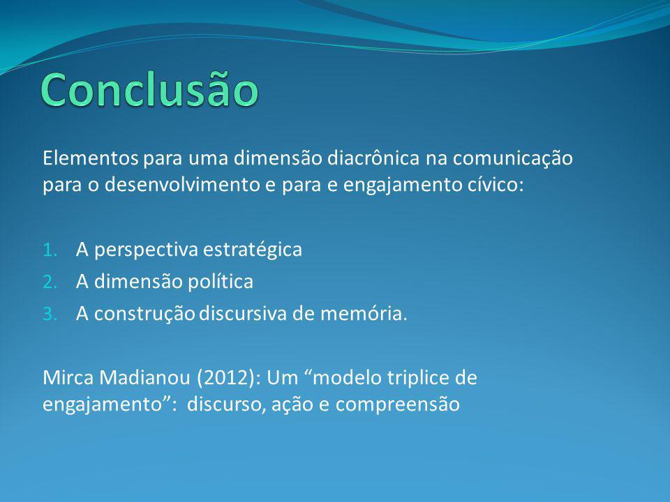 Elementos para uma dimensão diacrônica na comunicação para o desenvolvimento e para e engajamento cívico: 1. A perspectiva estratégica 2. A dimensão p
