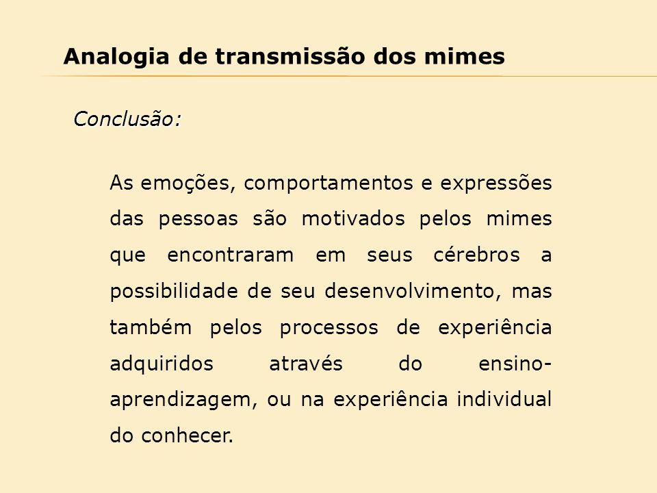 Analogia de transmissão dos mimes As emoções, comportamentos e expressões das pessoas são motivados pelos mimes que encontraram em seus cérebros a pos