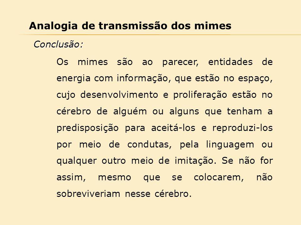 Analogia de transmissão dos mimes Os mimes são ao parecer, entidades de energia com informação, que estão no espaço, cujo desenvolvimento e proliferaç