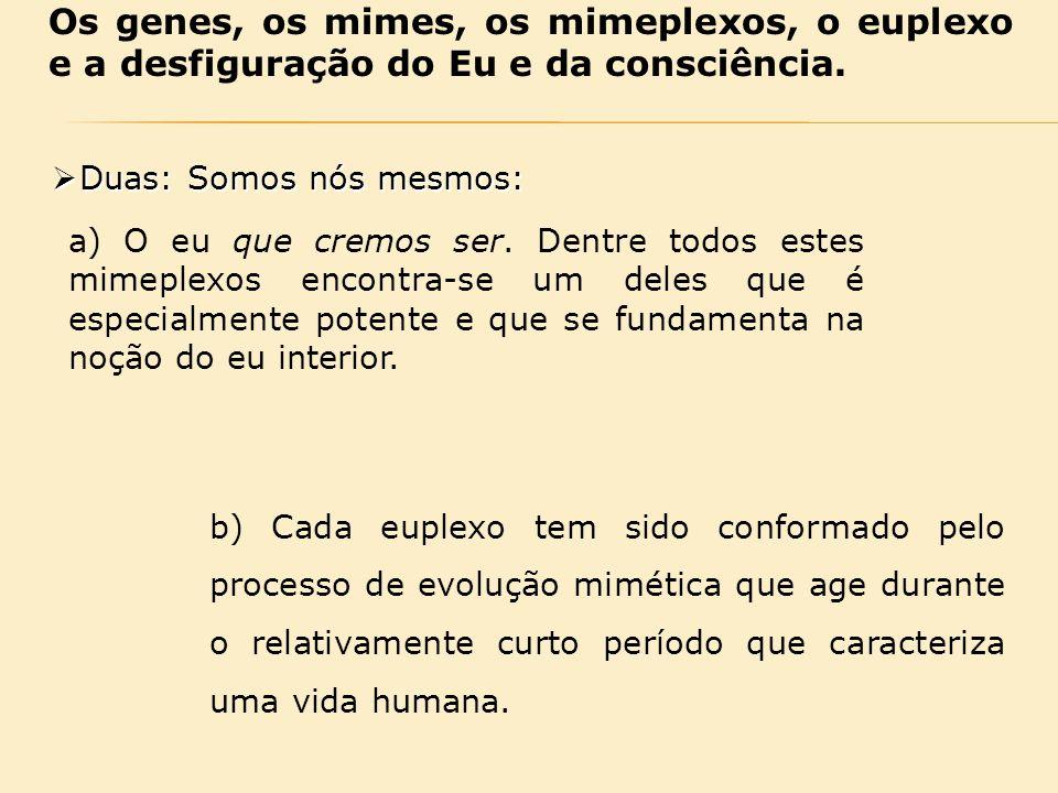 Os genes, os mimes, os mimeplexos, o euplexo e a desfiguração do Eu e da consciência.  Duas: Somos nós mesmos: a) O eu que cremos ser. Dentre todos e