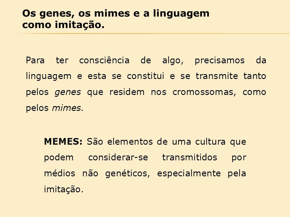 Os genes, os mimes e a linguagem como imitação. Para ter consciência de algo, precisamos da linguagem e esta se constitui e se transmite tanto pelos g
