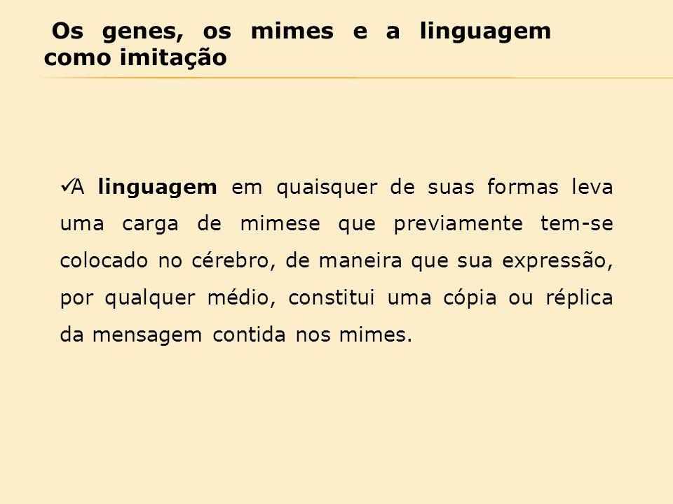 Os genes, os mimes e a linguagem como imitação A linguagem em quaisquer de suas formas leva uma carga de mimese que previamente tem-se colocado no cér