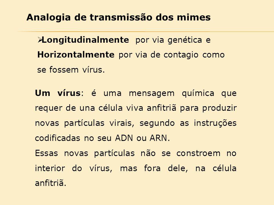 Analogia de transmissão dos mimes  Longitudinalmente por via genética e Horizontalmente por via de contagio como se fossem vírus. Um vírus: é uma men