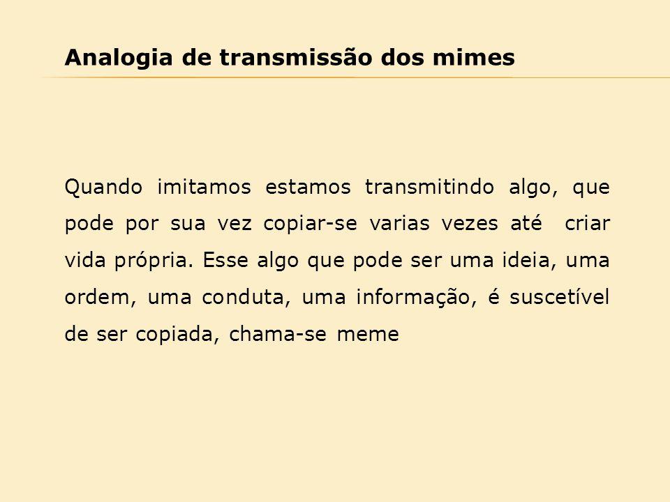 Analogia de transmissão dos mimes Quando imitamos estamos transmitindo algo, que pode por sua vez copiar-se varias vezes até criar vida própria. Esse