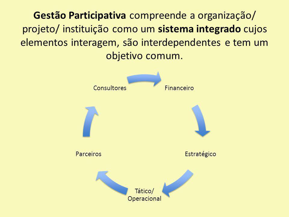 Gestão Participativa compreende a organização/ projeto/ instituição como um sistema integrado cujos elementos interagem, são interdependentes e tem um