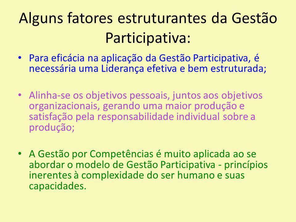 Alguns fatores estruturantes da Gestão Participativa: Para eficácia na aplicação da Gestão Participativa, é necessária uma Liderança efetiva e bem est