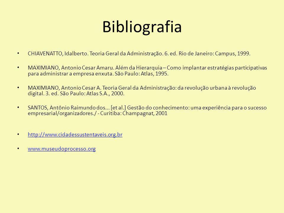 Bibliografia CHIAVENATTO, Idalberto. Teoria Geral da Administração. 6. ed. Rio de Janeiro: Campus, 1999. MAXIMIANO, Antonio Cesar Amaru. Além da Hiera