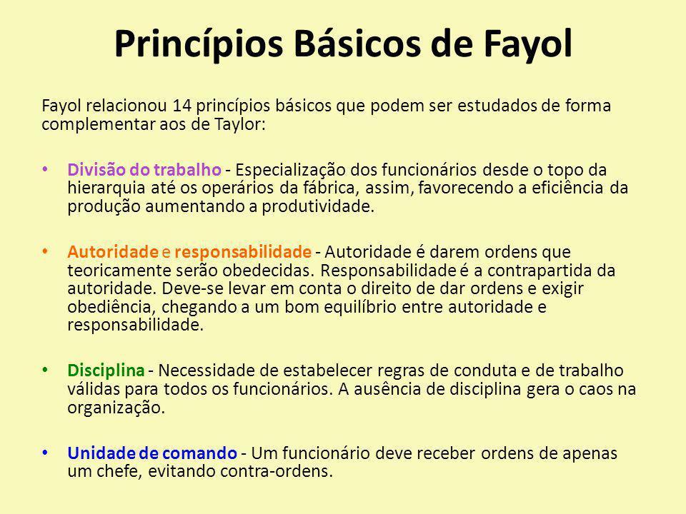 Princípios Básicos de Fayol Fayol relacionou 14 princípios básicos que podem ser estudados de forma complementar aos de Taylor: Divisão do trabalho -