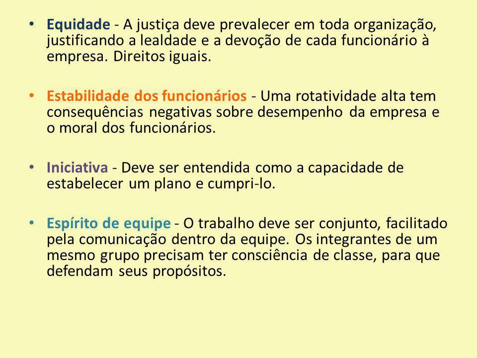 Equidade - A justiça deve prevalecer em toda organização, justificando a lealdade e a devoção de cada funcionário à empresa. Direitos iguais. Estabili