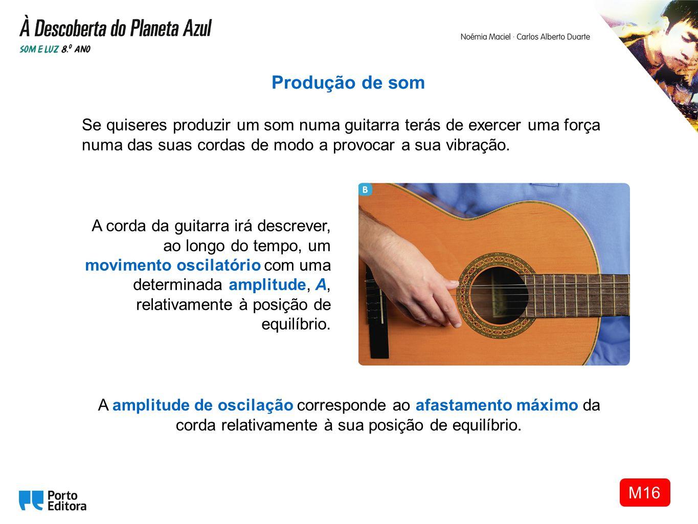 A corda da guitarra irá descrever, ao longo do tempo, um movimento oscilatório com uma determinada amplitude, A, relativamente à posição de equilíbrio