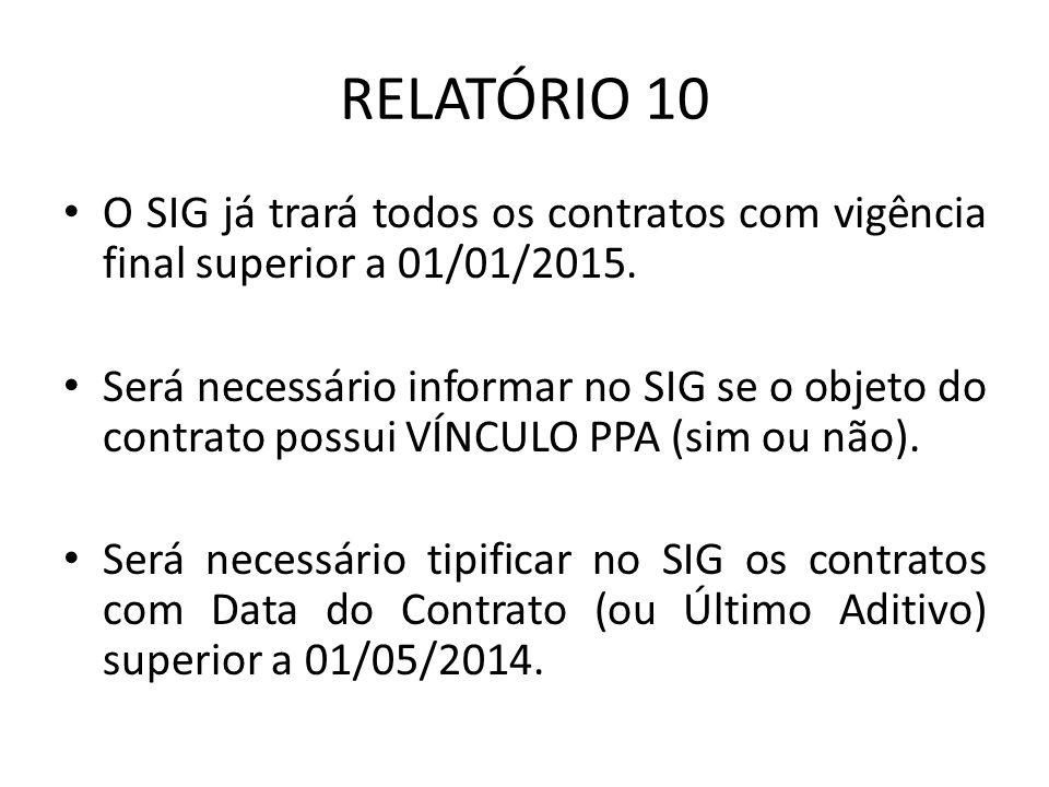 RELATÓRIO 10 O SIG já trará todos os contratos com vigência final superior a 01/01/2015. Será necessário informar no SIG se o objeto do contrato possu