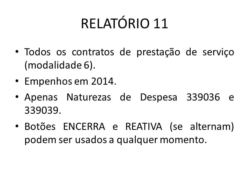 RELATÓRIO 11 Todos os contratos de prestação de serviço (modalidade 6). Empenhos em 2014. Apenas Naturezas de Despesa 339036 e 339039. Botões ENCERRA