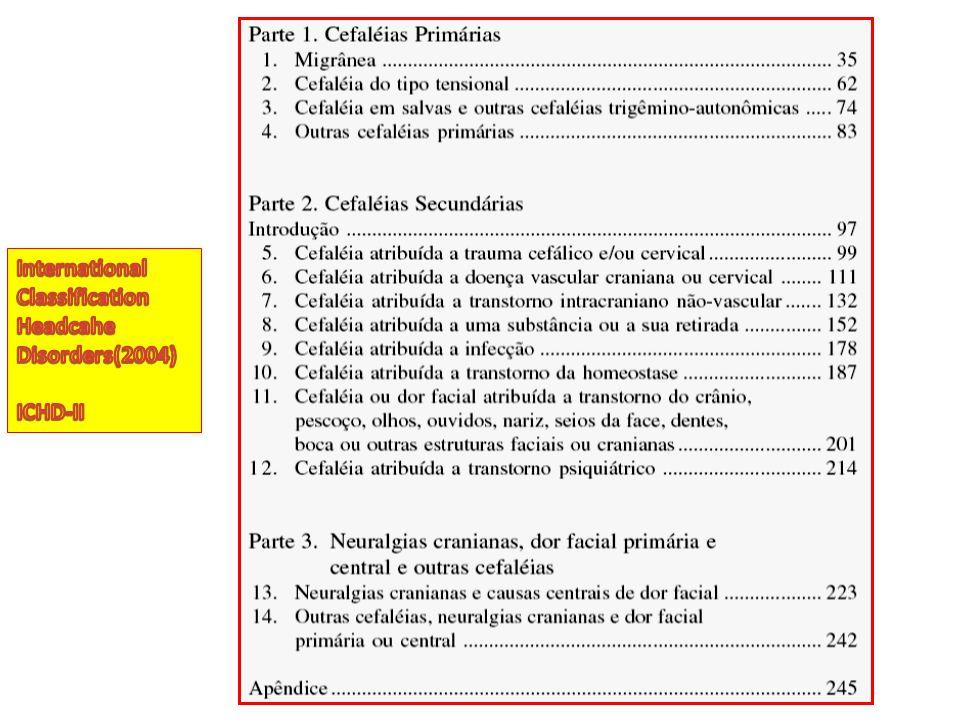 Cenário 3: Cefaléia crônica não progressiva Características de cefaléia tensional com mais de 15 episódios/ mês: Cefaléia tensional crônica Medidas educativas Tratamento abortivo Profilaxia de crises Melhora clínica.