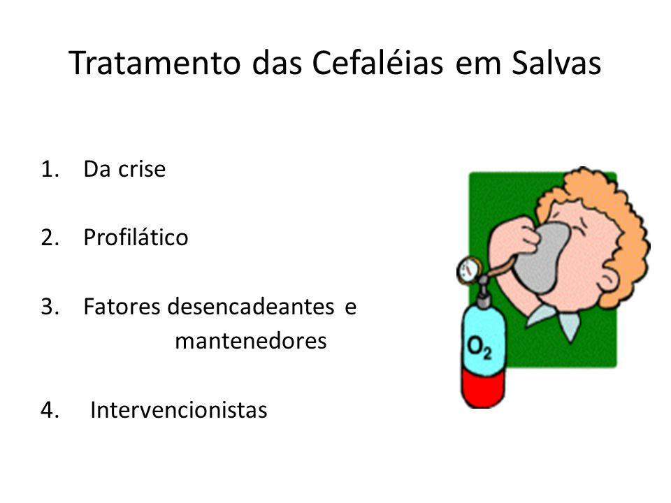 Tratamento das Cefaléias em Salvas 1. Da crise 2. Profilático 3. Fatores desencadeantes e mantenedores 4. Intervencionistas