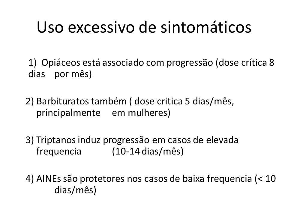 Uso excessivo de sintomáticos 1) Opiáceos está associado com progressão (dose crítica 8 dias por mês) 2) Barbituratos também ( dose critica 5 dias/mês, principalmente em mulheres) 3) Triptanos induz progressão em casos de elevada frequencia (10-14 dias/mês) 4) AINEs são protetores nos casos de baixa frequencia (< 10 dias/mês)