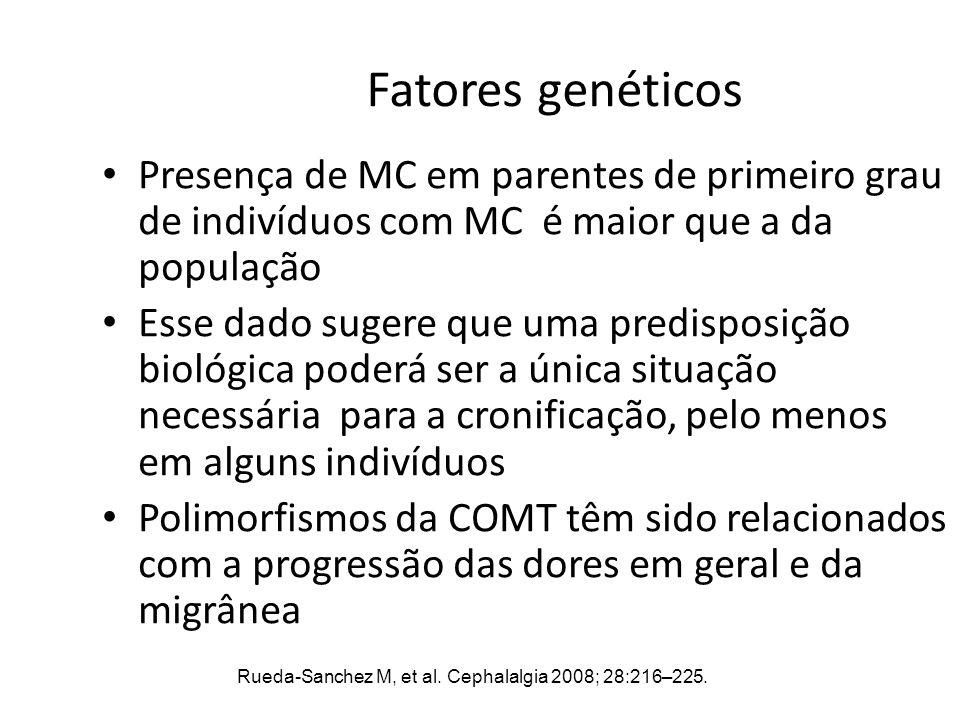 Fatores genéticos Presença de MC em parentes de primeiro grau de indivíduos com MC é maior que a da população Esse dado sugere que uma predisposição b