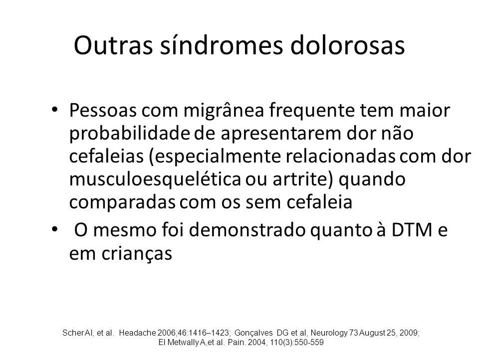 Outras síndromes dolorosas Pessoas com migrânea frequente tem maior probabilidade de apresentarem dor não cefaleias (especialmente relacionadas com dor musculoesquelética ou artrite) quando comparadas com os sem cefaleia O mesmo foi demonstrado quanto à DTM e em crianças Scher AI, et al.