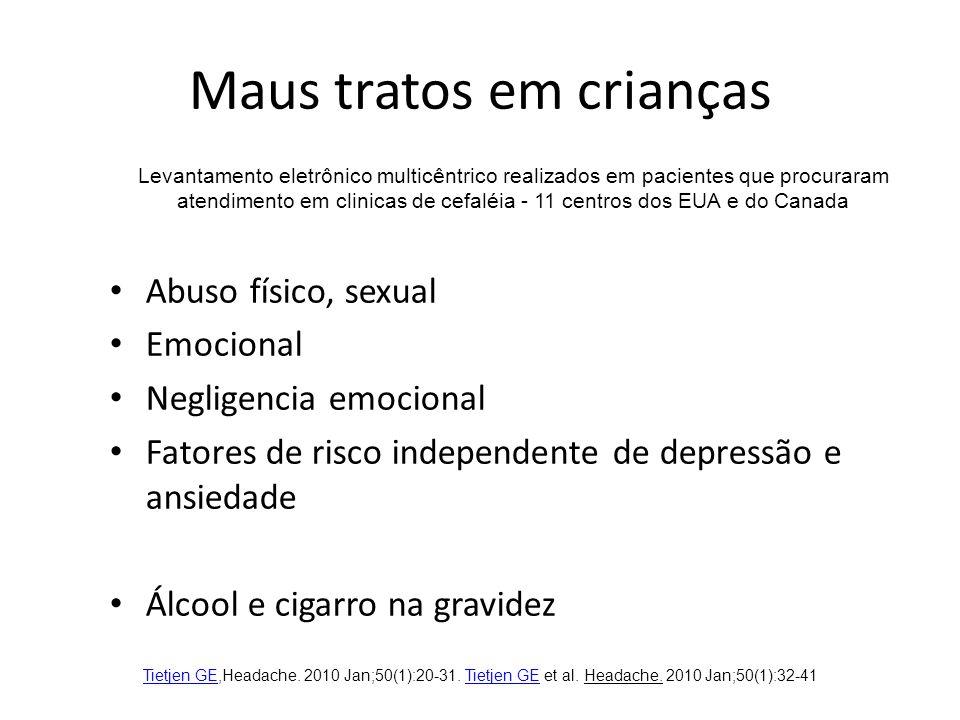Maus tratos em crianças Abuso físico, sexual Emocional Negligencia emocional Fatores de risco independente de depressão e ansiedade Álcool e cigarro na gravidez Tietjen GETietjen GE,Headache.