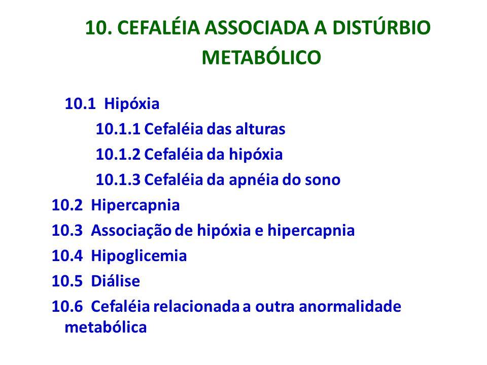 10. CEFALÉIA ASSOCIADA A DISTÚRBIO METABÓLICO 10.1 Hipóxia 10.1.1 Cefaléia das alturas 10.1.2 Cefaléia da hipóxia 10.1.3 Cefaléia da apnéia do sono 10