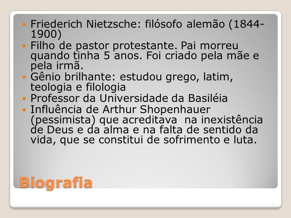 Biografia Friederich Nietzsche: filósofo alemão (1844- 1900) Filho de pastor protestante. Pai morreu quando tinha 5 anos. Foi criado pela mãe e pela i
