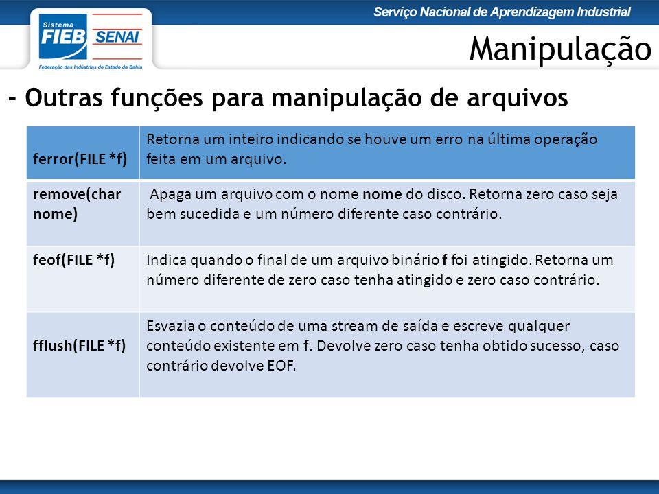 Manipulação - Outras funções para manipulação de arquivos ferror(FILE *f) Retorna um inteiro indicando se houve um erro na última operação feita em um arquivo.