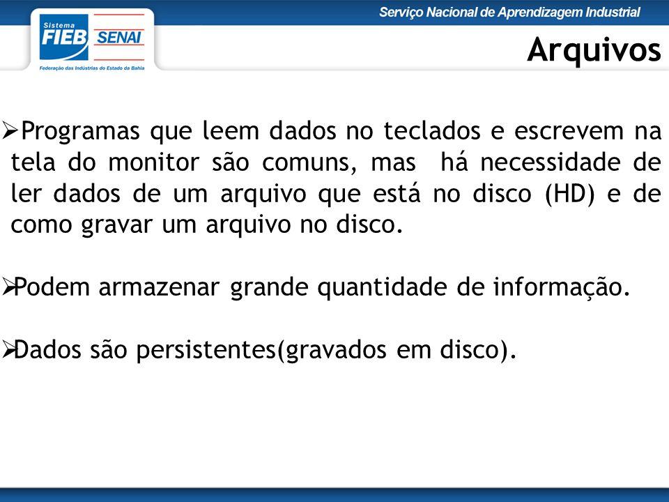 Arquivos  Programas que leem dados no teclados e escrevem na tela do monitor são comuns, mas há necessidade de ler dados de um arquivo que está no disco (HD) e de como gravar um arquivo no disco.