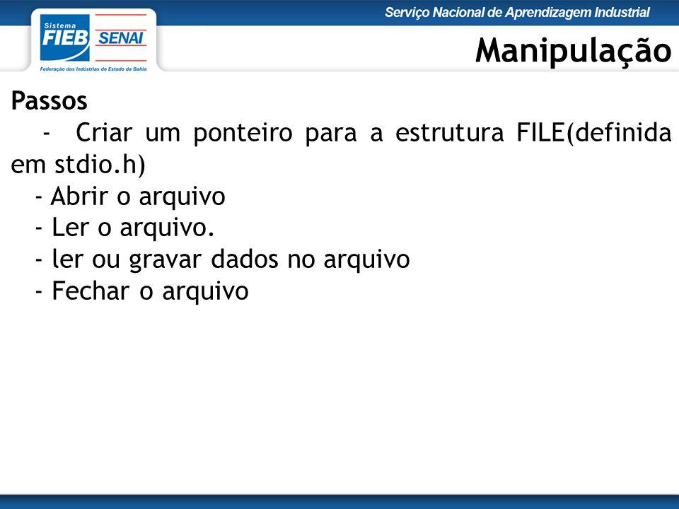 Manipulação Passos - Criar um ponteiro para a estrutura FILE(definida em stdio.h) - Abrir o arquivo - Ler o arquivo.