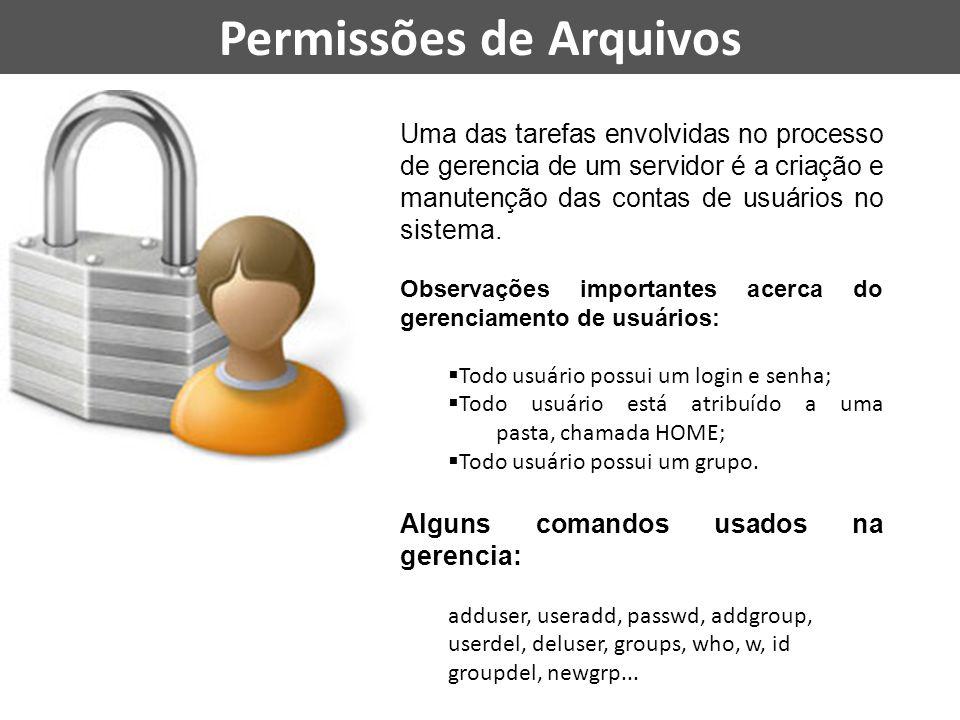 Permissões de Arquivos Uma das tarefas envolvidas no processo de gerencia de um servidor é a criação e manutenção das contas de usuários no sistema. O
