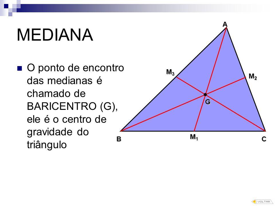 MEDIANA O ponto de encontro das medianas é chamado de BARICENTRO (G), ele é o centro de gravidade do triângulo G B A C M1M1M1M1 M2M2M2M2 M3M3M3M3