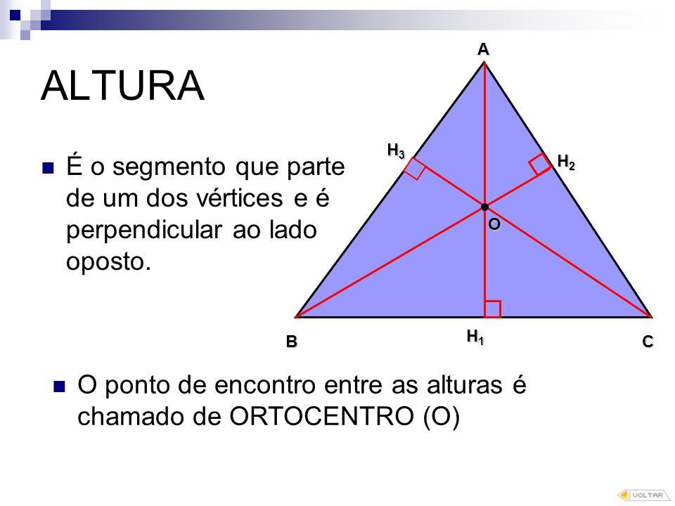 ALTURA É o segmento que parte de um dos vértices e é perpendicular ao lado oposto.