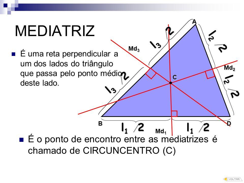 MEDIATRIZ É uma reta perpendicular a um dos lados do triângulo que passa pelo ponto médio deste lado.