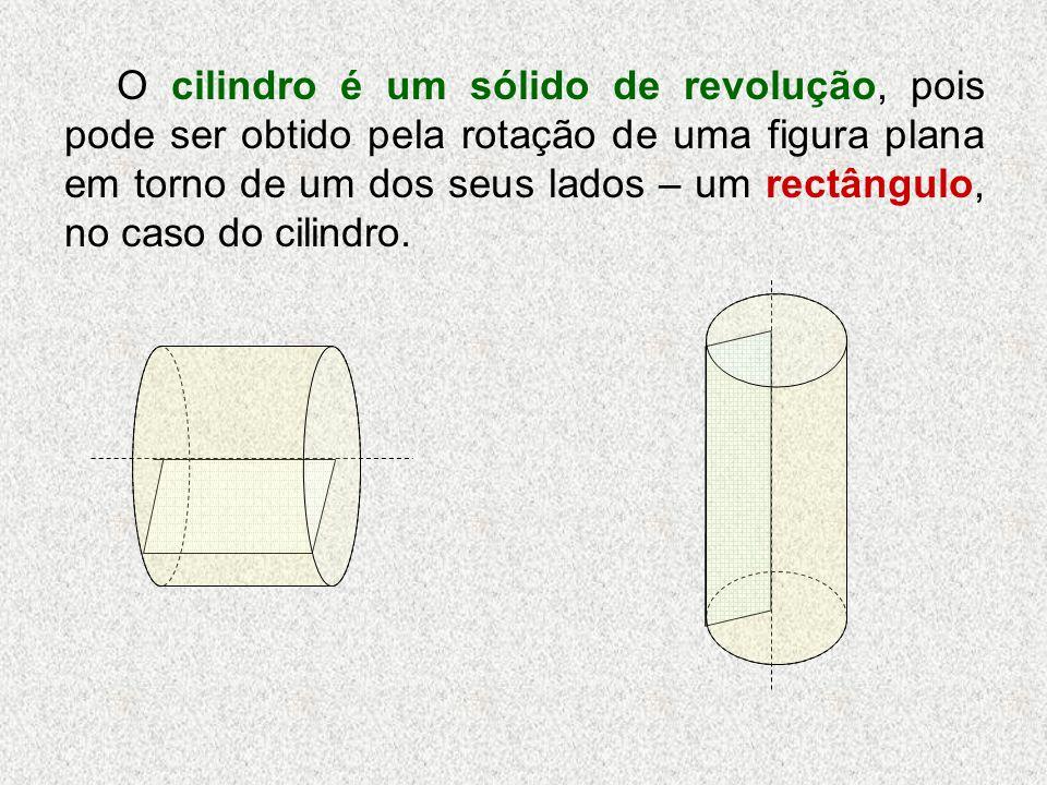 CILINDRO a base base face lateral a - altura do cilindro O cilindro é um sólido não poliedro, pois tem pelo menos uma face curva.