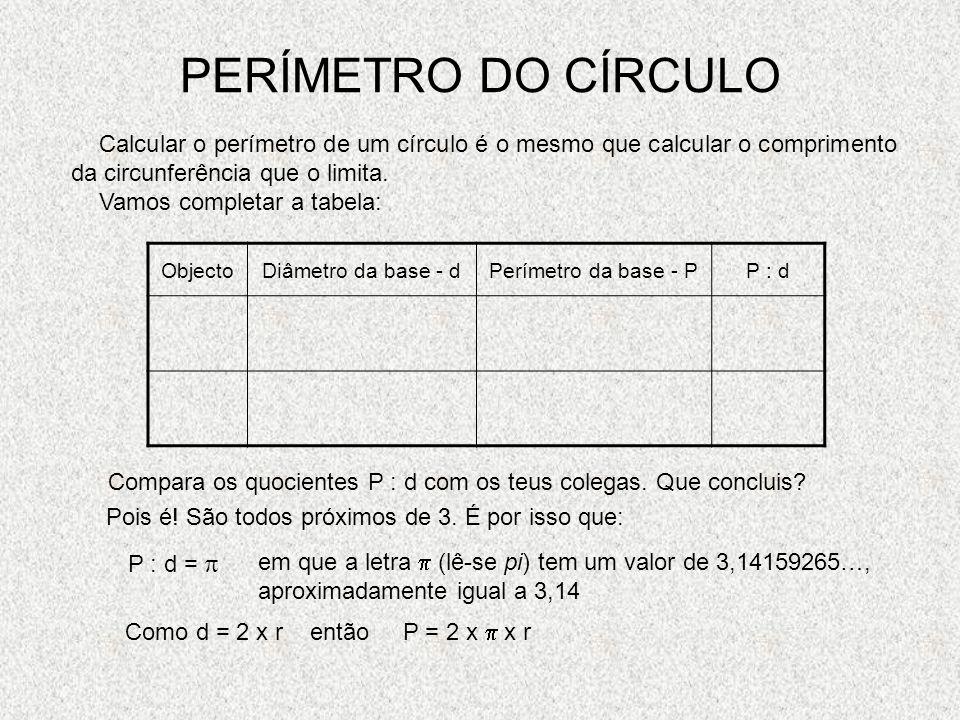 PLANIFICAÇÃO DO CILINDRO r a r r - raio a - altura comprimento da circunferência r r A face lateral é um rectângulo com base igual ao perímetro do cír