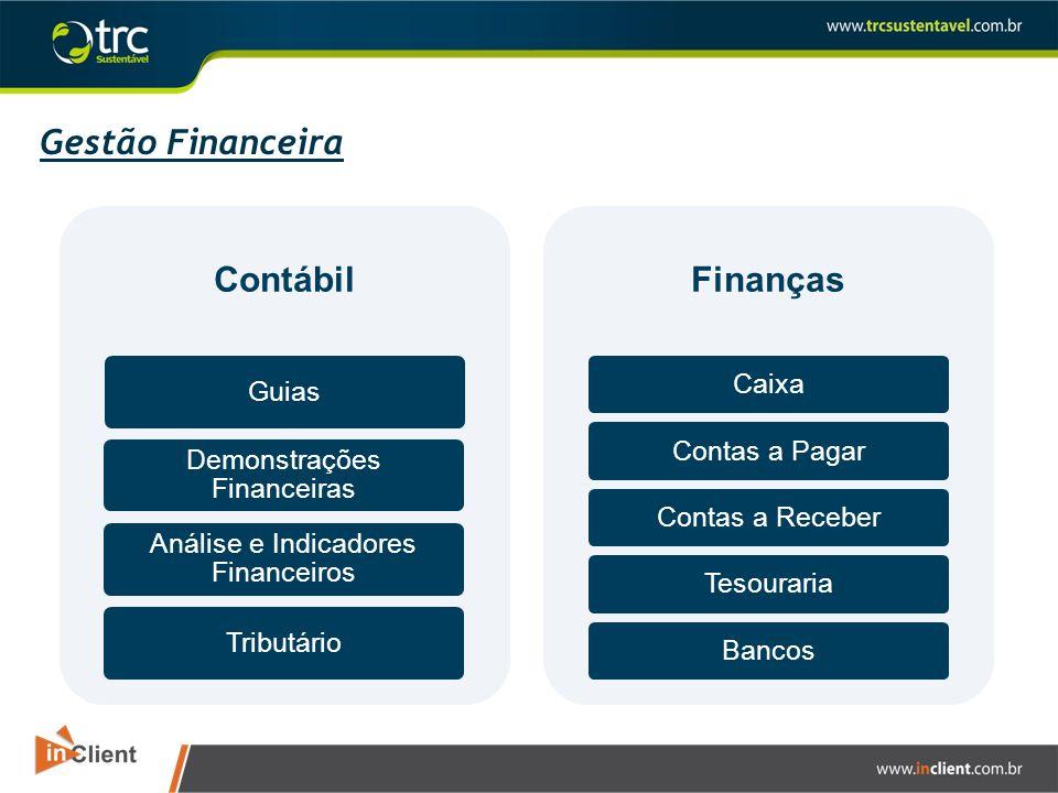 Gestão Financeira Contábil Guias Demonstrações Financeiras Análise e Indicadores Financeiros Tributário Finanças CaixaContas a PagarContas a ReceberTe
