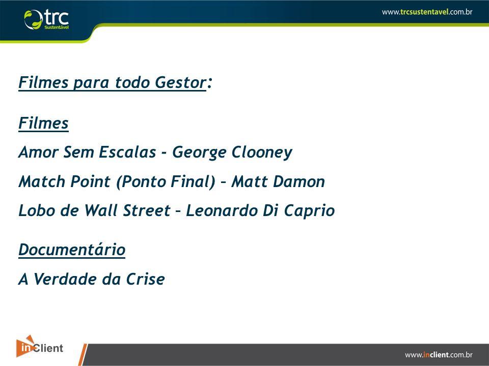 Filmes para todo Gestor : Filmes Amor Sem Escalas - George Clooney Match Point (Ponto Final) – Matt Damon Lobo de Wall Street – Leonardo Di Caprio Doc