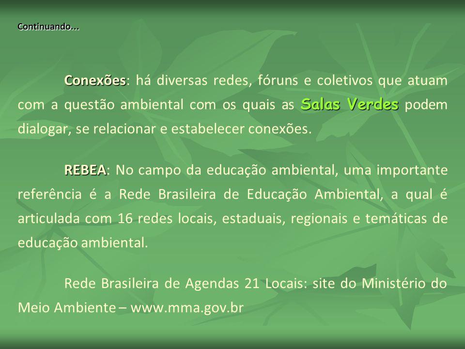 Continuando... Conexões Salas Verdes Conexões: há diversas redes, fóruns e coletivos que atuam com a questão ambiental com os quais as Salas Verdes po