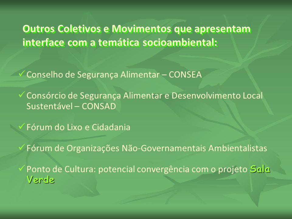 Outros Coletivos e Movimentos que apresentam interface com a temática socioambiental: Conselho de Segurança Alimentar – CONSEA Consórcio de Segurança