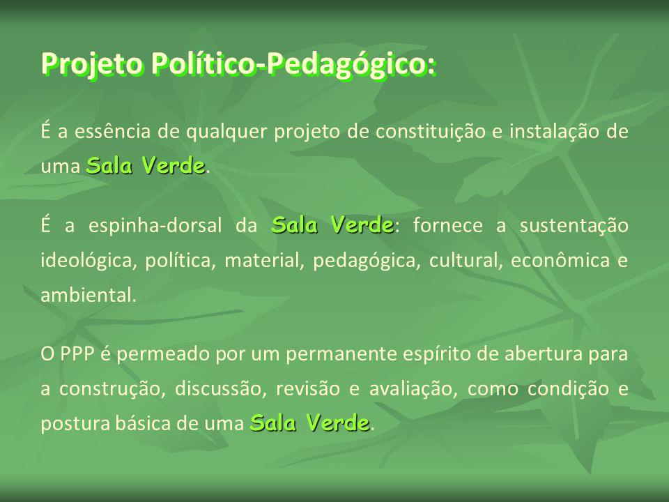 Projeto Político-Pedagógico: Sala Verde É a essência de qualquer projeto de constituição e instalação de uma Sala Verde. Sala Verde É a espinha-dorsal