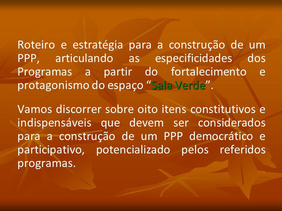 Sala Verde Roteiro e estratégia para a construção de um PPP, articulando as especificidades dos Programas a partir do fortalecimento e protagonismo do espaço Sala Verde .