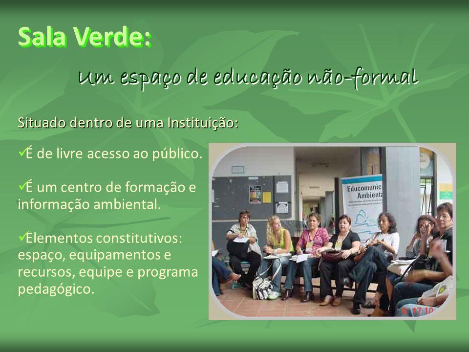 Situado dentro de uma Instituição: Um espaço de educação não-formal É de livre acesso ao público. É um centro de formação e informação ambiental. Elem