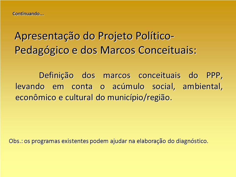 Continuando... Definição dos marcos conceituais do PPP, levando em conta o acúmulo social, ambiental, econômico e cultural do município/região. Aprese