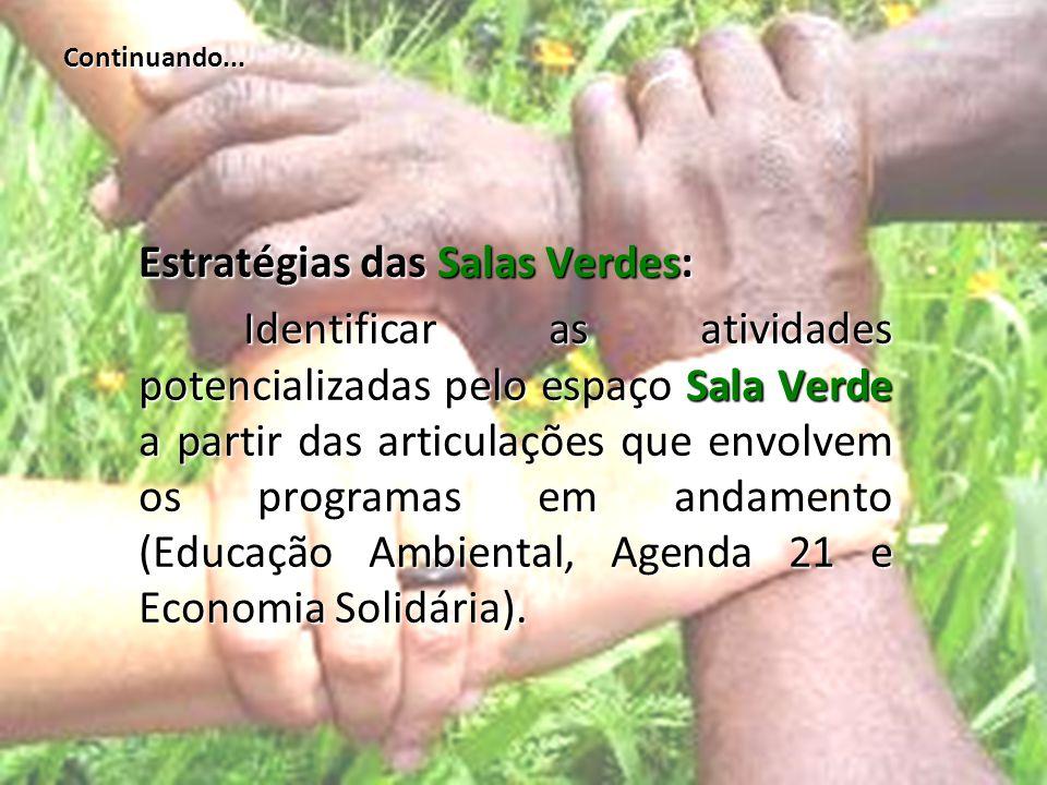 Continuando... Estratégias das Salas Verdes: Identificar as atividades potencializadas pelo espaço Sala Verde a partir das articulações que envolvem o