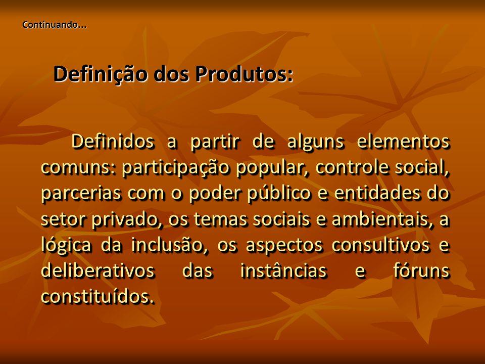 Continuando... Definidos a partir de alguns elementos comuns: participação popular, controle social, parcerias com o poder público e entidades do seto