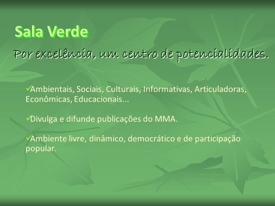 Ambientais, Sociais, Culturais, Informativas, Articuladoras, Econômicas, Educacionais... Divulga e difunde publicações do MMA. Ambiente livre, dinâmic