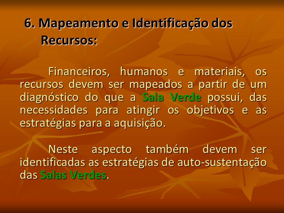6. Mapeamento e Identificação dos Recursos: Financeiros, humanos e materiais, os recursos devem ser mapeados a partir de um diagnóstico do que a Sala