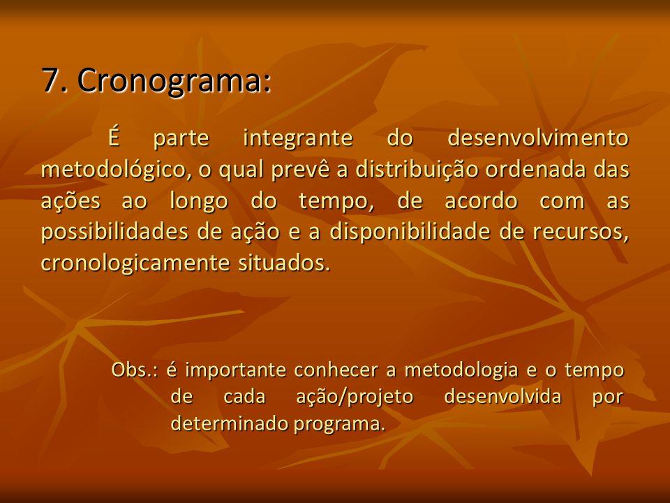 7. Cronograma: É parte integrante do desenvolvimento metodológico, o qual prevê a distribuição ordenada das ações ao longo do tempo, de acordo com as
