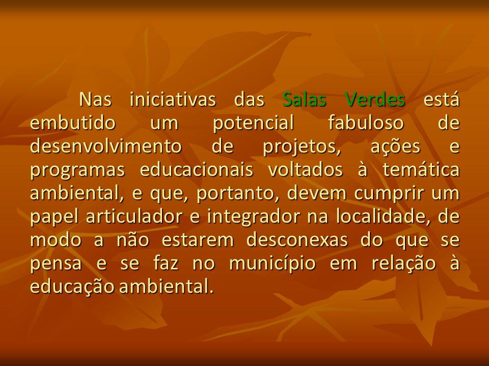 Nas iniciativas das Salas Verdes está embutido um potencial fabuloso de desenvolvimento de projetos, ações e programas educacionais voltados à temática ambiental, e que, portanto, devem cumprir um papel articulador e integrador na localidade, de modo a não estarem desconexas do que se pensa e se faz no município em relação à educação ambiental.
