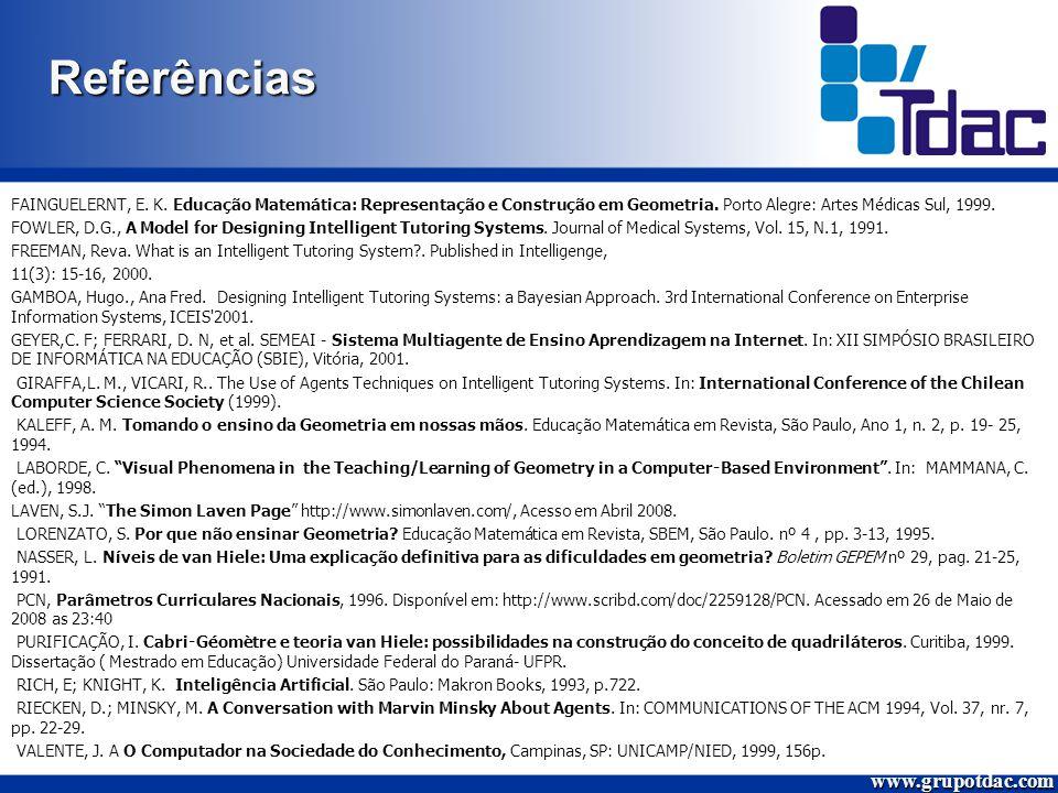 Referências FAINGUELERNT, E.K. Educação Matemática: Representação e Construção em Geometria.